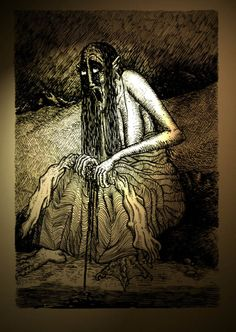 "Bean Nighe - ""Washer Woman""  Similar to the Banshee, the Bean Nighe is an omen of death in Scottish Folklore. he Bean Nighe are often seen washing the cloths..."