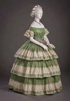 Silk gauze evening dress, c. 1855-60