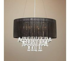 "Crystal and Chrome 23"" Wide Sheer Black Chandelier 