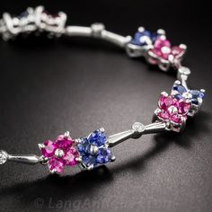 For my baby Girl C  / Contemporary Platinum Ruby, Sapphire and Diamond Bracelet