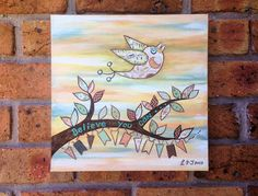 Believe You Can ~ Original Painting 12x12 by QuirkyHappyArt on Etsy