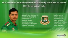 BCB Announces 14-man Squad for the Upcoming Zan\'n Zee Ice Cream ODI Series against India