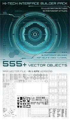 Hi-Tech Interface Builder Pack by CG cube, via Behance