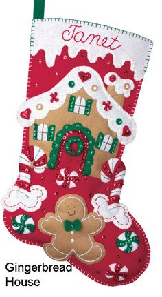 Bucilla Felt Applique Christmas Stocking Kit: Gingerbread House: This is an Bucilla felt applique Christmas stocking kit. Bucilla felt kits include everything needed to complete the kit. When complete - it's simply adorable! Felt Stocking Kit, Felt Christmas Stockings, Christmas Stocking Pattern, Felt Christmas Ornaments, Christmas Sewing, Noel Christmas, Homemade Christmas, Christmas Projects, Holiday Crafts