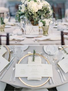 Love the mix of grays, silver, and white with gold accents! It's so elegant and perfect for a classic white wedding.