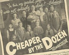Cheaper by the Dozen 1950 | Cheaper By The Dozen Film Original 1950 Vintage Print Ad Black and ...