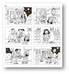 Images séquentielles sur Halloween Ready-made story boards Theme Halloween, Halloween Stories, Halloween Activities, Holidays Halloween, Sequencing Pictures, Sequencing Cards, Story Sequencing, Sequencing Events, Sequencing Worksheets