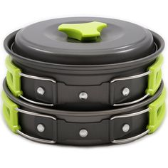 Portable Camping Cookware Mess Kit 12 Piece Backpacking Camp Gear Outdoor Hiking Cooking Utensils Cookset Pot Pan Bowls and Folding Spork Set Bag