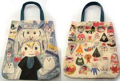 Nekonoko bags   ~ love the fabric (especially the one on the right) and the shape of these bags