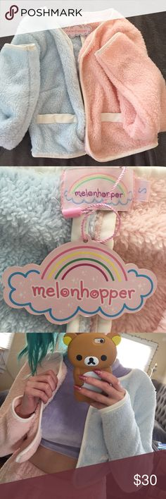 Melon Hopper Candy Fluff jacket Melon Hopper sold out color block candy fluff jacket in baby blue and baby pink! (Brand new/no flaws, never worn only tried on for here) You know the feeling - after a long day - of pure ecstasy when you crawl into the coziest of cozy beds and snuggle up to clean sheets, pillows, and fluffy blankets?  Well, Melonhopper has invented a way to re-create this feeling all day long. ✨🐻🍼💦💕 Melon Hopper  Jackets & Coats