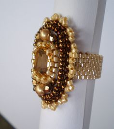 Bead Embroidery  ring Bronze Creme  Swarovski  Seed beads by Vicus, $15.00