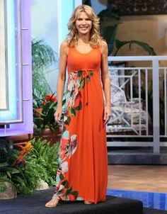 TOMMY BAHAMA: Madelena Rose long dress, orange empire bodice w/v-neckline, sleeveless, skirt w/abstract orange, turq, green, white, brown floral print on right side | Vanna White's dresses | Wheel of Fortune