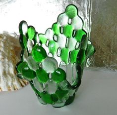 Fused Green and Clear Marbles Candle Holder Small by uniquenique, $28.00 #onfireteam #lacwe #fest #tbec #decor
