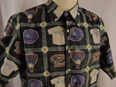 Reyn Spooner Hawaiian Shirt AZ Arizona Diamondbacks MLB Reverse Print Button M #ReynSpooner #Hawaiian