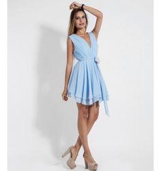 Φόρεμα με V και Σούρες - Γαλάζιο Dresses, Fashion, Vestidos, Moda, Fashion Styles, The Dress, Fasion, Dress, Gowns