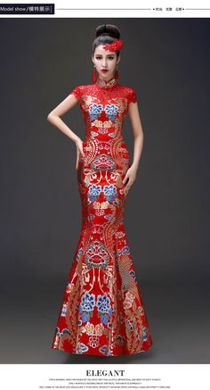 Chinese Cheongsam Evening Prom Party Wedding Mermaid Dress Ball Gown Embroidery…
