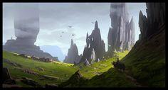 Journey in the Skye Land, Raphael Lacoste on ArtStation at https://www.artstation.com/artwork/qJWeD