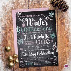 Winter Onederland Birthday Invitation Digital by EventswithGrace