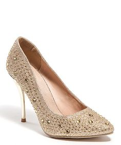 Lady Couture Champagne Embellished Lu Lu Pump | zulily