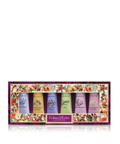Cherish loved ones with this clutch of Shea butter enriched skin nourishing treats. Each sumptuous cream helps hands counter harsher winter months and showcases a sweet, floral scent. Pick your fancy daily from Lavender, Rosewater, Lily, Venetian Violet, Florentine Freesia and the delights of Old World Jasmine.