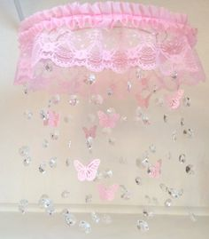 New Baby Nursery Girl Shabby Chic Crystal Mobile Ideas Girl Nursery, Girl Room, Nursery Decor, Nursery Room, Bedroom, Flower Mobile, Butterfly Mobile, Pink Princess Room, Crystal Mobile