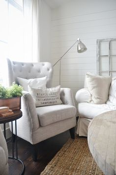 "Ok, so one of my MOST asked questions is ""Where are those tufted wing back chairs from in your living room?"" The answer? Marshalls!! Seriously, they are two of my favorite pieces in our entire house. They are for sure a focal point of our upstairs living room & I'm so happy I found them …"