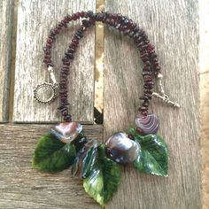 SOLD !    Statement necklace, Leaf necklace, Garnet necklace, Leaves and Petals necklace, Botswana Agate and Serpentine necklace by CoastAndMountainArts on Etsy