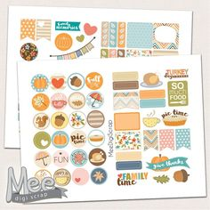 Decorative Thanksgiving stickers,planner printable,fall sticker kit,planner stickers,diary stickers,1 in circle stickers,personal,Eclp,Happy by MeeDigiScrap on Etsy
