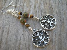 Tree of Life Gemstone Earrings Unakite & by Abundantearthworks  #tree #treeoflife #treeearrings #treeoflifejewelry #treeoflifeearrings #tigereye #tigereyeearrings #unakite #unakiteearrings #nature #woodland #woodlandjewelry #boho #wiccan #abundantearthworks #dangleearrings #dropearrings #handmade