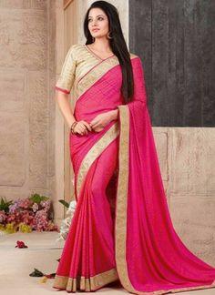 Magenta Embroidery Work Fancy Fabric Designer  Printed Sarees http://www.angelnx.com/Sarees
