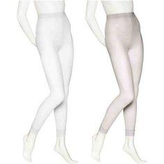 No nonsense Opaque Footless White Capri Tight with Lace Trim - 2 Pair, Women's, Size: XL