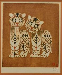 JAPANESE WOODBLOCK PRINT, LION CUBS, MIKUMO