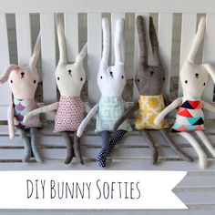 DIY bunny softies! Such a fun thing to do with all the extra fabric CailaMade always has!