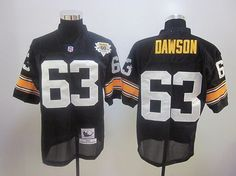 b9d1125f6 60TH Mitchell And Ness Steelers  63 Dermontti Dawson Black Embroidered NFL  Jersey  Emillia Kelly