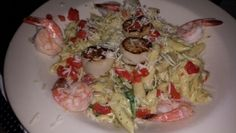 Shrimp and scallop penne pasta, seafood pasta, fresh food,Delicious food