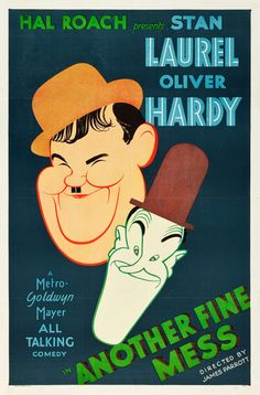 "Another Fine Mess (MGM, 1930). One Sheet (27"" X 41"") Another Fine Mess is a three reel remake of the silent Laurel and Hardy comedy short Duck Soup, an adaptation of a vaudeville sketch written by Stan Laurel's father. This poster showcases artwork by the famous caricature artist, Al Hirschfeld, and is the only copy known to exist. Even better, it is in spectacular condition! Folded, Very Fine. Estimate: $25,000 - $50,000."