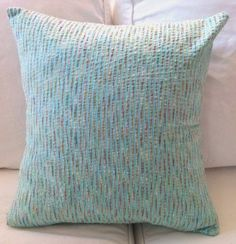 20 in. Light Blue Seersucker Pillow Cover by ColorfulCovers