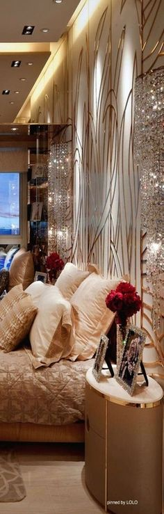 Art Deco Master Bedroom with Swarovski Crystal Frame, interior wallpaper, Crystal Glass Vase, Carpet, High ceiling