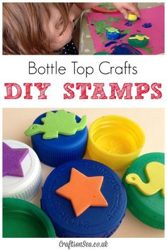 A fun craft for toddlers, preschools, and young kids! Recycle old bottle caps into stamps for art projects.