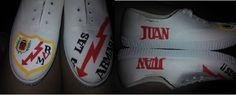 Rayo Vallecano Adidas Stan Smith, Adidas Sneakers, Shoes, Fashion, Custom Sneakers, Lightning Bolt, Hand Made, Moda, Zapatos