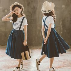 Outfits Niños, Teen Girl Outfits, Little Girl Outfits, Fashion Outfits, Toddler Skirt, Baby Skirt, Summer Girls, Kids Girls, Outfit Sets
