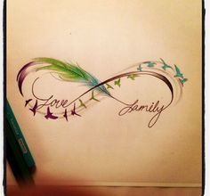 Infinity sign feathers birds love family | Tattoos | Tattoo Pictures | Culture | Inspiration | Tattoo Style Art | Clothing | Videos | TattooEsque