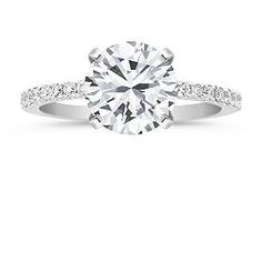 Petite Pavé Diamond Engagement Ring with Brilliant Round Diamond