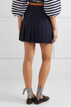 Miu Miu - Pleated Wool-blend Mini Skirt - Navy - IT40