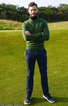 Mr Grey: Jamie Dornan was very much on the green when he stepped out in…