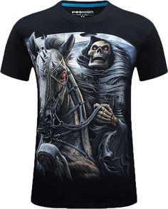 6c028892056 Men Skull knight Short Sleeve Black T-shirt Black Friday Back To School  Happy Birthday
