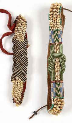 Africa | Belts from the Kuba people of DR Congo | Cloth, shells, glass beads and natural fibers