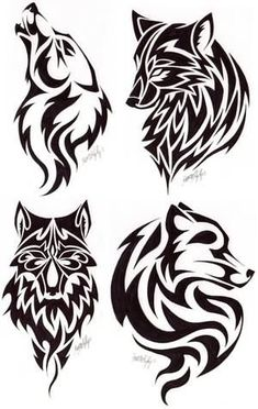 The top left wolf is adorable. Love the howling pose, inner bicep tattoo?
