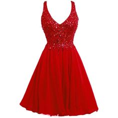 ORIENT BRIDE V-neck Short Party Dress Crystal Cocktail Juniors Prom... ($119) ❤ liked on Polyvore featuring dresses, red prom dresses, short red dress, evening cocktail dresses, holiday cocktail dresses and short evening dresses