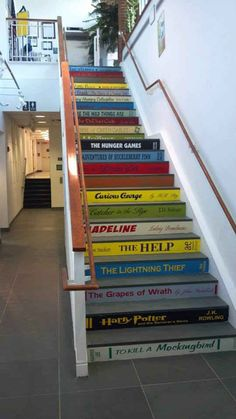 Turn your staircase into a giant library.